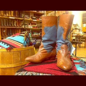 Shoes - Vintage Leather & Denim Cowboy Boots